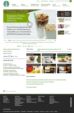Starbucks.com homepage - desktop
